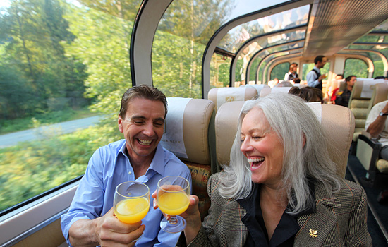 The Rocky Mountaineer GoldLeaf dome car offers unparalleled quality of service and views.