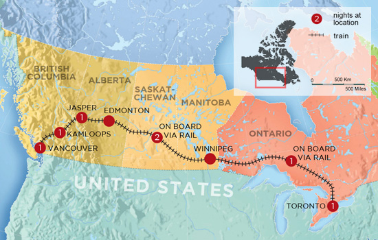 Trans Canada by Rail in a Week - Map