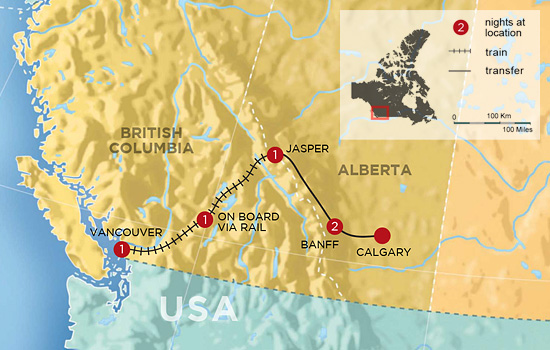 The Canadian Rockies Voyage by Train &ndash; Map
