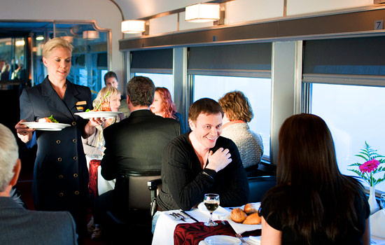 Canadian railway - Canadian train - Via Rail offers gourmet meals and comfortable private cabins.