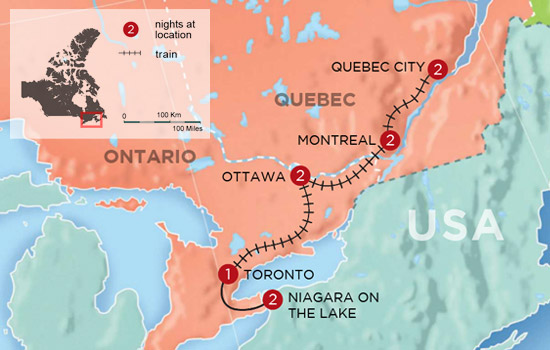 Canadian History and Culture By Rail - Map
