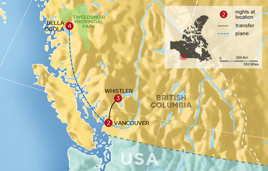 Canada's Pacific Northwest Lodges by Land, Sea and Air - Map