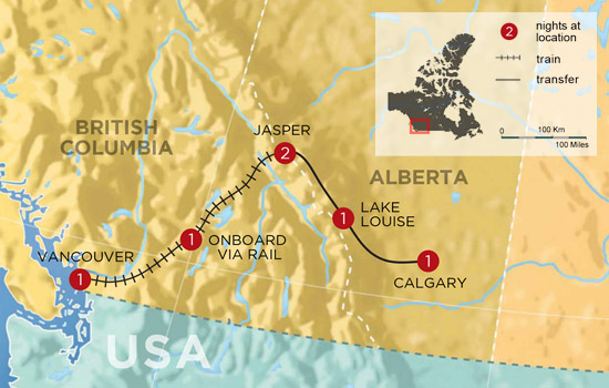 Canadian Rockies Winter Getaway by Train - Map