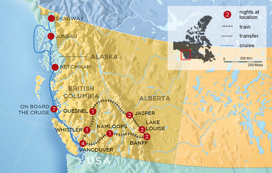 Circle the Rockies by Train with Alaska Inside Passage Cruise &ndash; Map