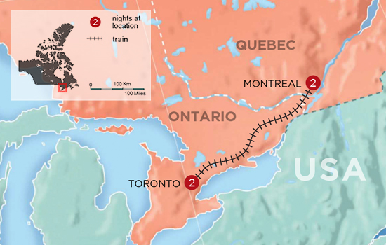 Canada's Twin Cultures by Rail - Map