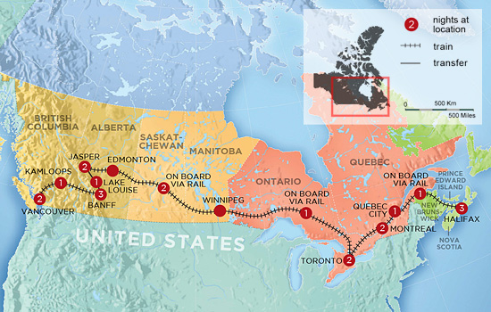 Canada Coast to Coast By Train – Map