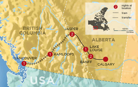 Complete Canadian Rockies by Rail &ndash; Map