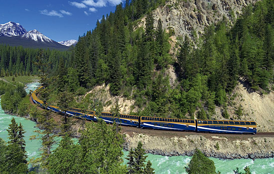 You'll tavel on the Rocky Mountaineer along the Canadian railway.