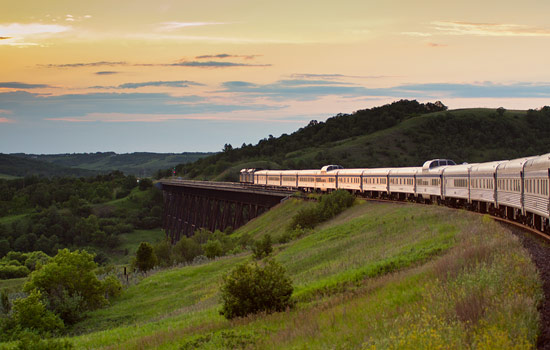 Watch the landscape change as you travel across Canada on board Via Rail 'Canadian' train