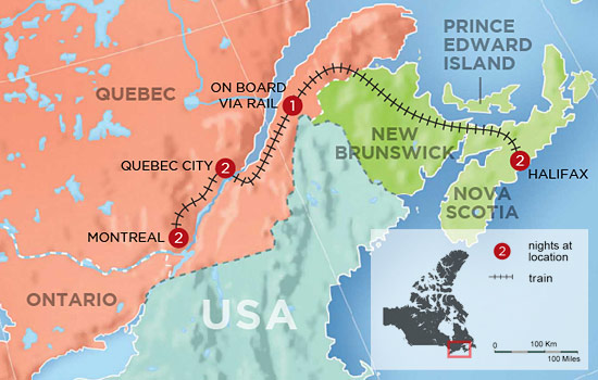 Canada's Eastern Rail Classic - Map