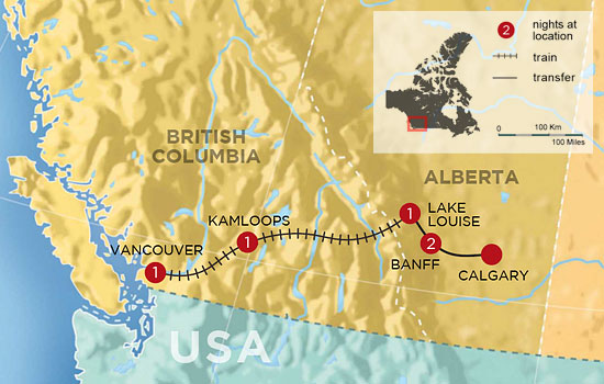 Essential Rockies by Train - Map