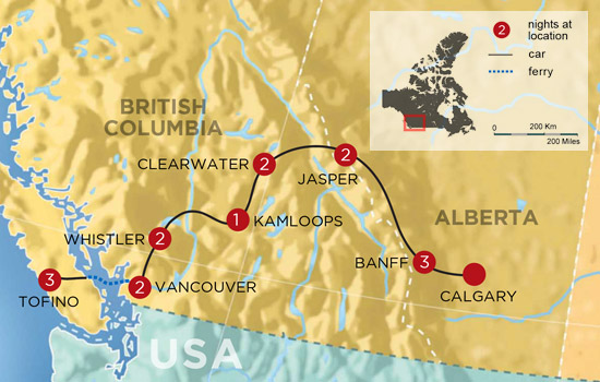 Best of The Rockies and West Coast Adventure - Map