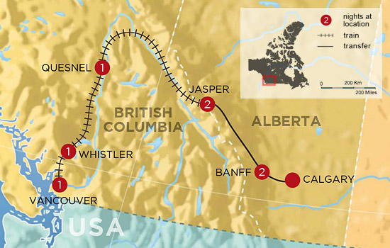 Canadian Rockies Golf and Spa by Rail  &ndash; Map