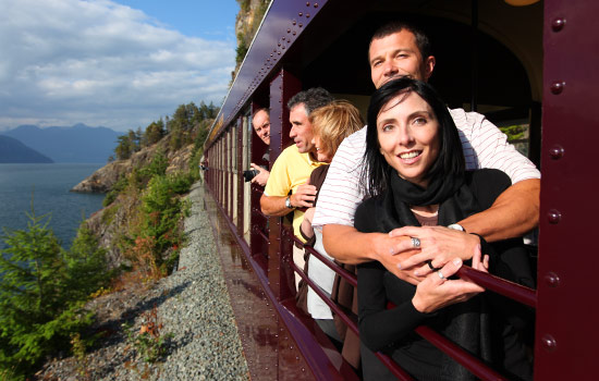 Relax onboard the Rocky Mountaineer Sea to Sky Climb train to Whistler.