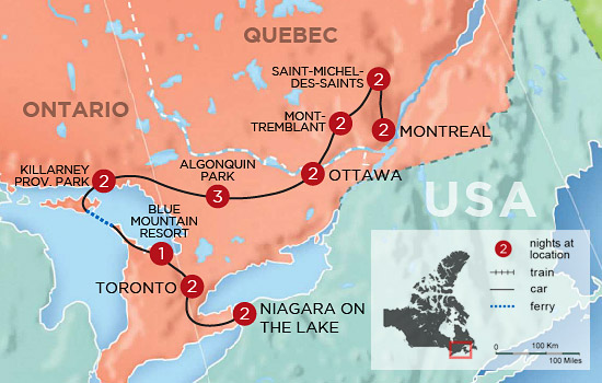 Lakeshores and Lodges of Ontario and Quebec - Map