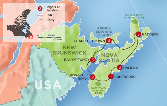 Charming Inns of Nova Scotia and PEI - Map