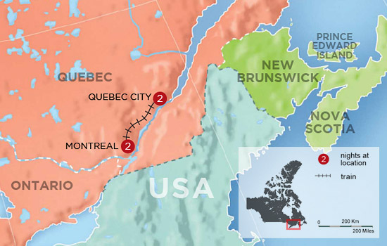 Montreal and Quebec City Getaway by Rail &ndash; Map