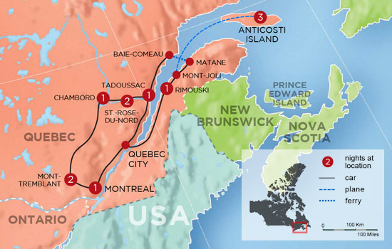 Mountains and Fjords of Quebec Adventure - Map