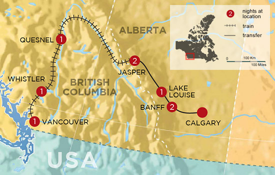 Discover Whistler and the Canadian Rockies by Rail - Map