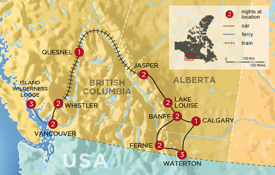 Canadian Rockies to Rainforest Self Drive and Rail Holiday &ndash; Map