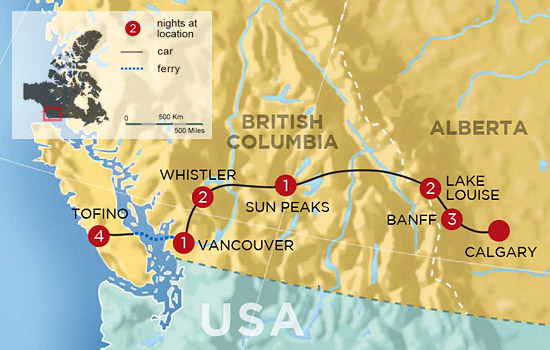 Canadian Rockies and Clayoquot Sound Adventure - Map