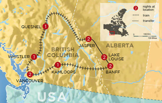 Circle the Canadian Rockies by Train - Map