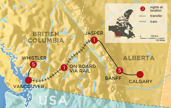 Canadian Rockies and Whistler Ski Safari - Map
