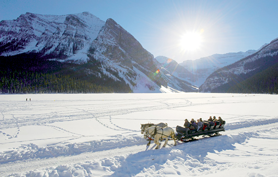 Canadian railway - Canada rail - Enjoy a sleigh ride on beautiful Lake Louise