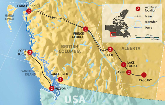 Canadian Rockies Rail, Sail And Grizzly Bear Adventure  – Map