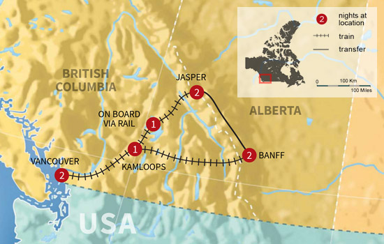 Ultimate Canadian Rockies Rail Journey - Map