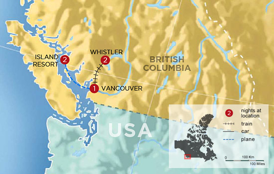 Whistler and the Sunshine Coast by Land, Sea and Air - Map