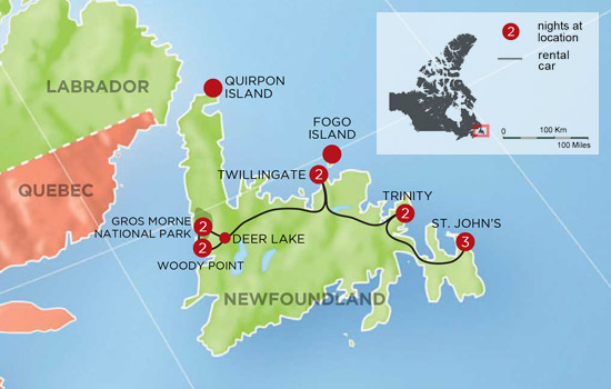 Wild Newfoundland Self Drive - Map