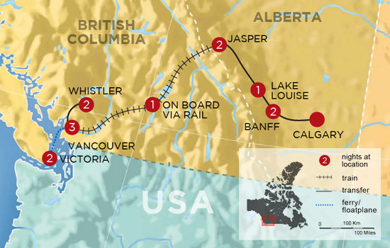 Wintertime in the Canadian Rockies by Rail - Map